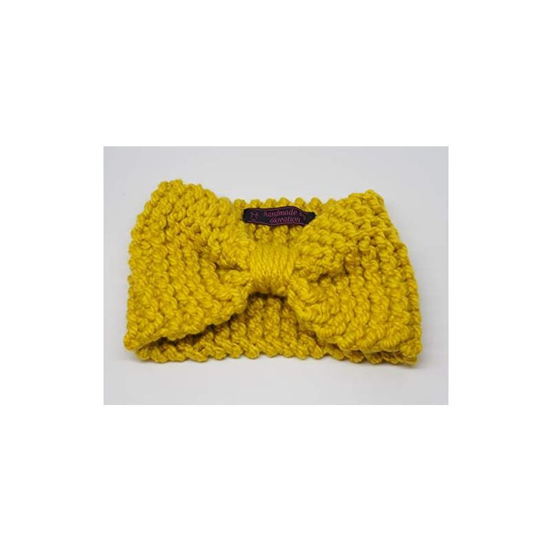 35115ac0265ed Large Bandeau Headband Noeud Cache Oreilles Laine Jaune Moutarde